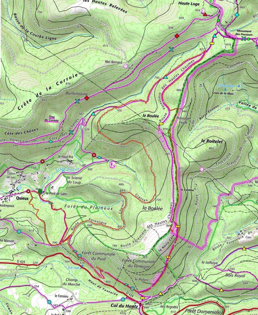 parcours randonnée Quieux-La Boulée-Col du Hantz