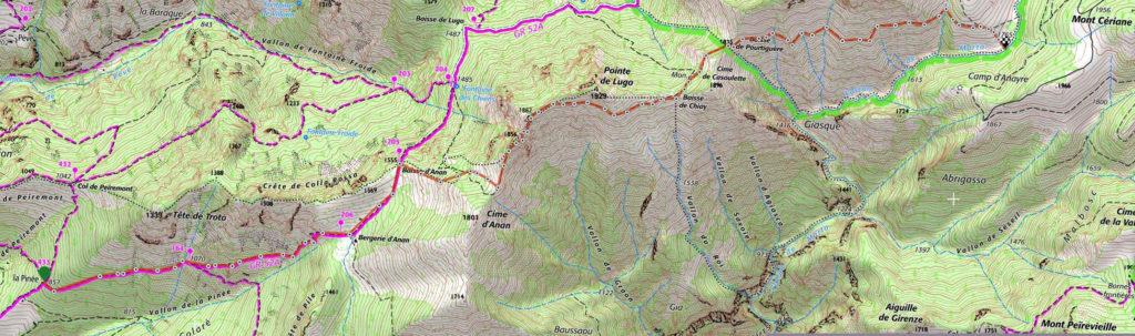 Carte montée de la Pinée au ruisseau de Marta (Bendola)